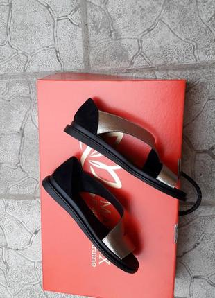 Скидка!!!туфли кожаные босоножки балетки подошва танкетка золото3 фото