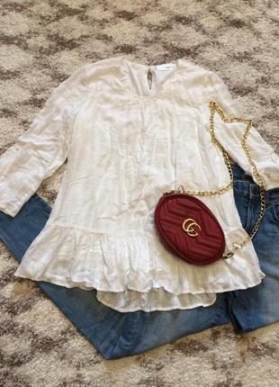 Фирменная белая блуза c&a,удлиненная блузочка с рюшей+подарок ремешок