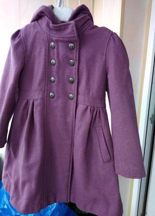 Весеннее детское фиолетовое шерстяное пальто с капюшоном для девочки 4 лет