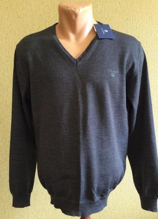 Мужской новый свитер джемпер кофта gant оригинал 100% меринос шерсть размер m