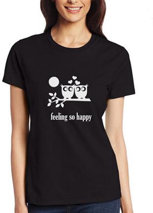 Футболка черная feeling so happy 100% коттон размеры испания