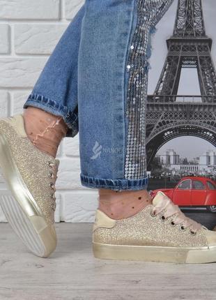 Кеды женские на платформе prima d'arte золотистые с люрексом атласные шнурки2 фото