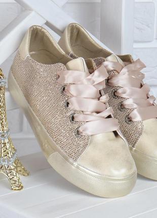 Кеды женские на платформе prima d'arte золотистые с люрексом атласные шнурки