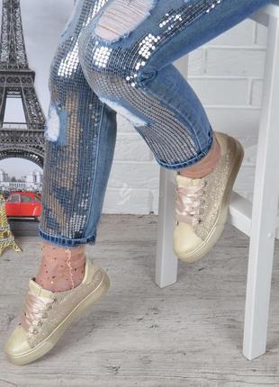 Кеды женские на платформе prima d'arte золотистые с люрексом атласные шнурки4 фото