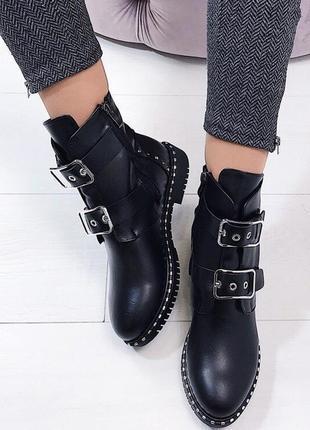 Новые черные женские кожаные демисезонные ботинки