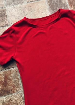 Красное платье-футболка, платье футболка, мини, новинка