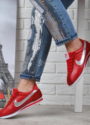 Кроссовки женские кожаные nike cortez красные серебро найк кортез