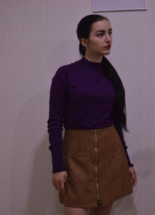 Трендовая юбка горчичного цвета впереди замок и кармны