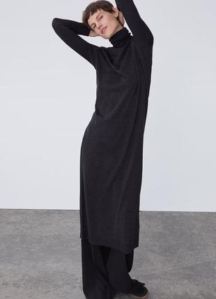 Zara тёплое платье - гольф 100% шерсть, м