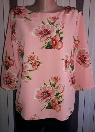 Шикарная блуза в цветы р.12-14
