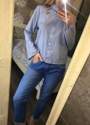 Рубашка с вышивкой в полоску1 фото