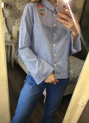 Рубашка с вышивкой в полоску2 фото