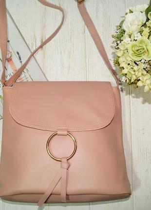 Красивая сумка через плечо, кросс-боди в пудровом оттенке