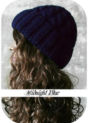 Любая расцветка! хлопковая шапка с отворотом/косы/полуночно-синего цвета