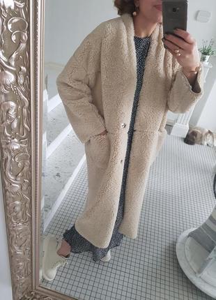 Пальто оверсайз весна 2019 натуральная овчина мех шуба