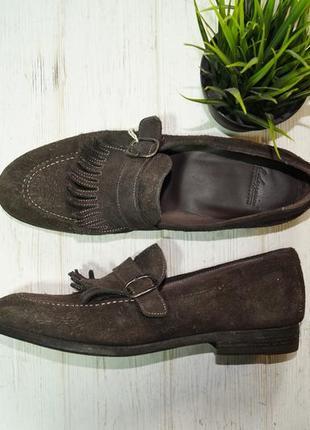 Pantofola doro. италия. оригинал. кожа, замша. безупречные туфли лоферы премиум качества