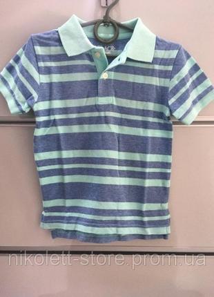 Поло детское минт полоска на мальчика футболка подростковое поло