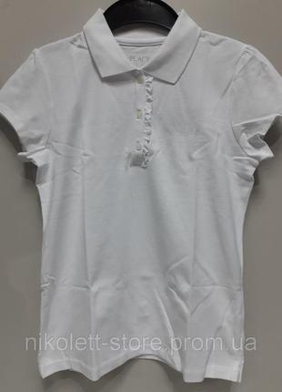 Поло детское  белое на девочку футболка подростковое с рюшами