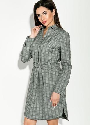 Платье пиджак рубашка  с поясом в клетку с разрезами с металлической пряжкой тренд 2019