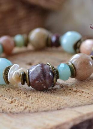 Браслет ′мятное вино′, браслет из натуральных камней, браслет ручной работы