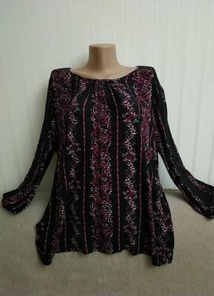 Блузка с длинными рукавами, вискоза, пог 63 см
