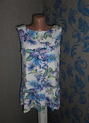 Вискозная, удлиненная майка-блуза 16 р.