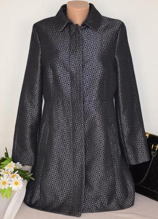 Брендовое темно-синее демисезонное пальто с карманами new look premium этикетка