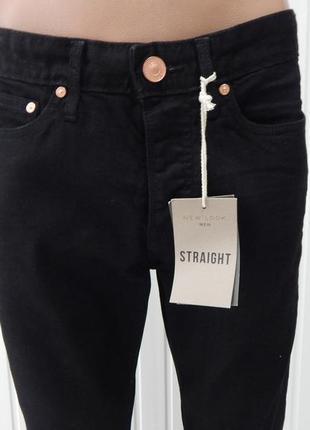 Стильные чёрные мужские джинсы newlook straight