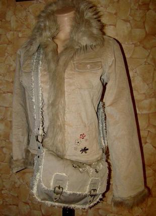Оригинальная сумочка (мех+плотный текстиль+вышивка)
