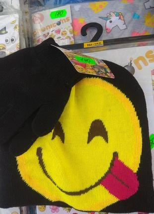 Набор, шапочка+перчатки смайлик 110-116р.