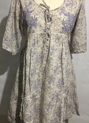 Свободное светлое платье в цветочек и вышивка. подходит для беременных  pepe jeans
