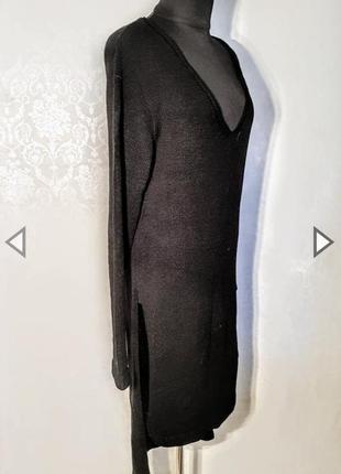 Шикарный чёрный длинный свитер платье с высокими боковыми разрезами