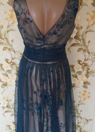 Невероятное женственное вечернее платье сетка цветы8 фото