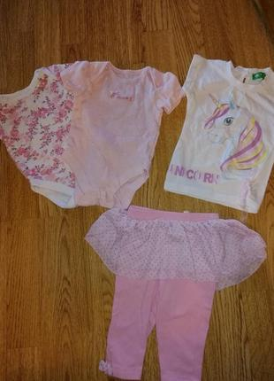 Комплект на девочку набор на лето 2 шт боди лосины футболка