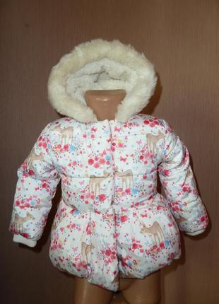 Теплая куртка, пальто на 9-12 мес от mothercare