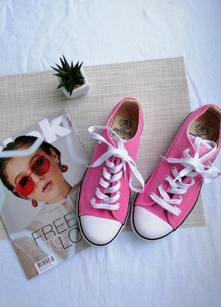 Розовые текстильные кеды dunlop оригинал