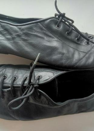 Кожаные танцевальные туфли чешки на шнурках тапочки унисекс