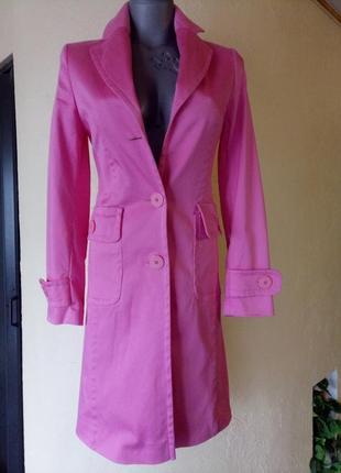 Коттоновый стрейчевый плащ,тренч розового цвета