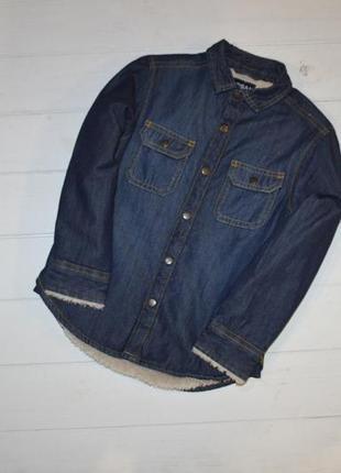 Теплая джинсовая рубашка для мальчика 5 лет