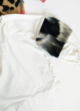 Свитшот  с меховыми вставками oversize
