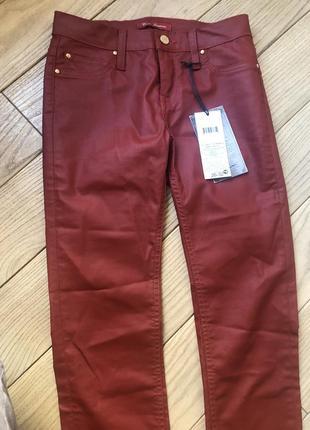 Стильні завужені джинси скіні колір бордо покриття «байкер»