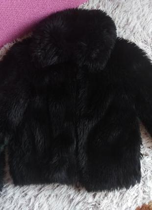 Шубка шуба черная из искусственного меха