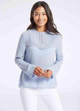 Шикарная блуза с кружевом,  блуза нежно голубого цвета, блуза с натуральной ткани2 фото