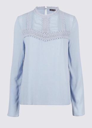 Шикарная блуза с кружевом,  блуза нежно голубого цвета, блуза с натуральной ткани4 фото