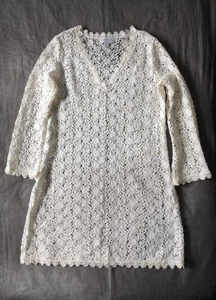 Кружевная туника, платье . l-xl(пог-58). хлопок.