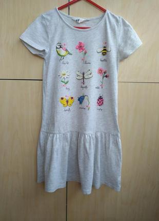 Хлопковое платье h&m на 6-8 лет