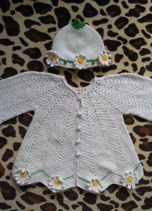 Вязанный комплект шапка+ пальто ручной работы