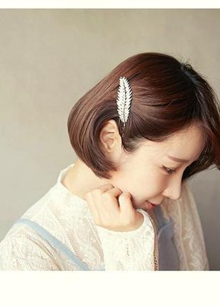 Заколка для волос, зажим золотое перо6 фото