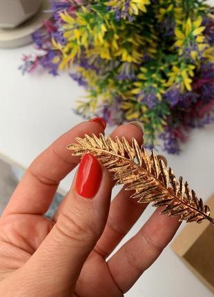 Заколка для волос, зажим золотое перо3 фото