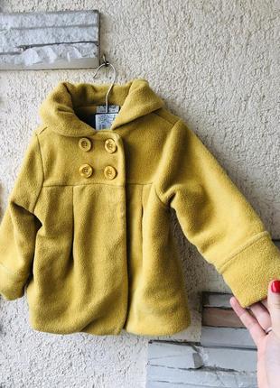 Красивое пальто куртка горчичного цвета next на 1,5-2 года